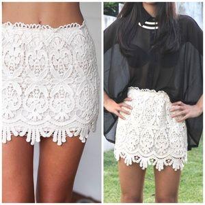 White crochet lace mini skirt - Hello Molly