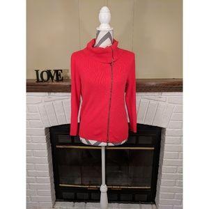 CAbi #285 Asymmetrical Cowl Neck Zip Up Sweater
