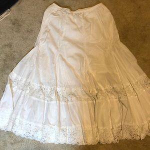 Ruffle boho floral lace maxi white stretchy skirt