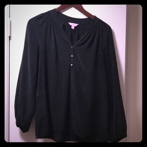 Lily Pulitzer 100% silk black blouse