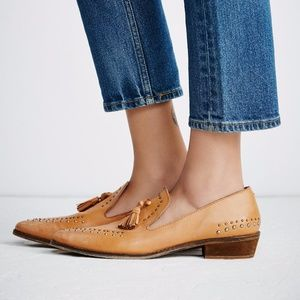 NEW Free People Rangley Studded Loafer Natural