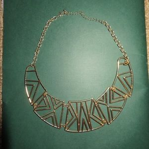 Geometric gold cut out necklace