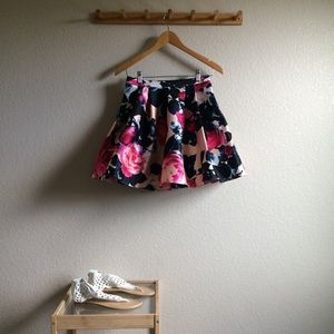 Floral Tulle-lined Skirt