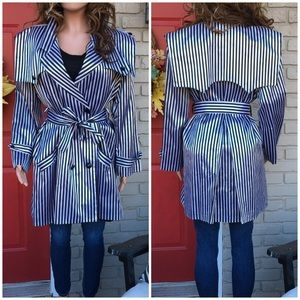 Black white striped trench style jacket
