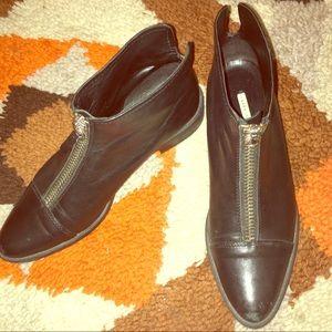 Black Leather Zara ZIP Front Booties 39
