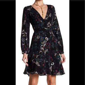 ASTR the Label Deep V Flounce Mini Dress