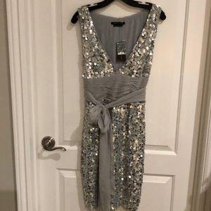 NWT BCBG Maxazria silver sequence dress