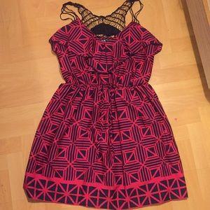 Pink and Navy Geometric Crochet Dress