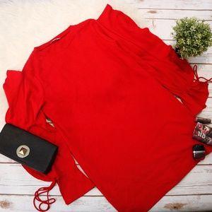 ZARA Red Ruffle Sleeve Mini Dress