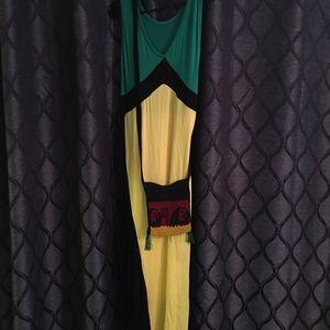 Jamaican Dress/earrings/cross body