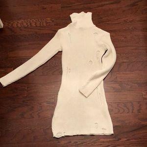 White Long Sleeve Turtle Neck Dress!