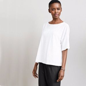 Eileen Fisher Boxy Linen Tee with Studs