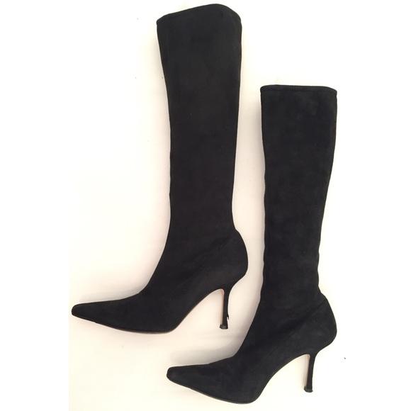 5d6e8d2e74a Jimmy Choo Stevie Suede Tall Boots Black EUC 39.5