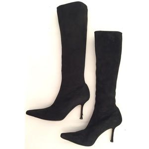 Jimmy Choo Stevie Suede Tall Boots Black EUC 39.5