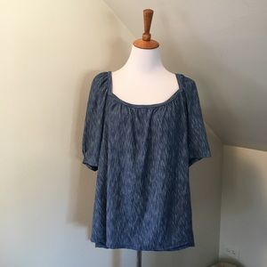 NWT POSTMARK Anthropologie Striped Blue Top XL