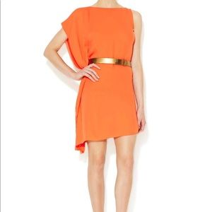 Halston Heritage Asymmetrical Draped Belted Dress
