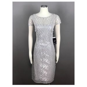 Adrianna Papell Feather Sequin Sheath Dress 8
