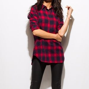 Tops - Burgundy and Navy Plaid Flannel Long Sleeve Top