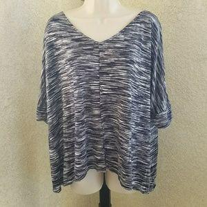 Cynthia Rowley vneck 1/2 sleeve flowy blouse sz 1X