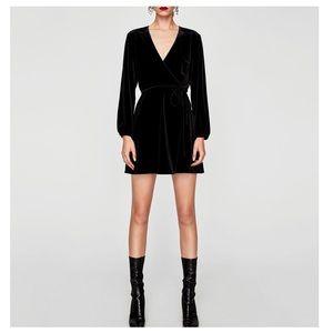 Zara Velvet Mini Wrap Dress 👗