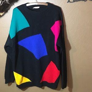 Vintage sweater w/ bright geometric print