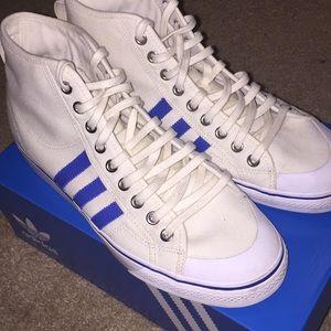 Adidas High Tops - Cream and Blue