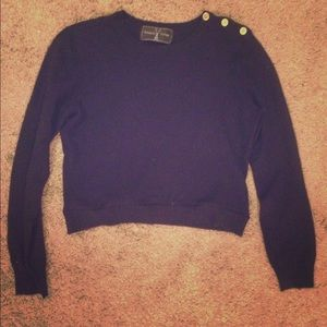 Ralph Lauren Cashmere Cropped Sweater, Navy