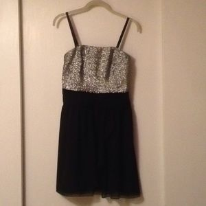 Express Silver Sequin and Black Dress Size 6