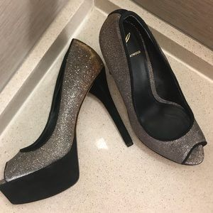 Brian Atwood Bambola Glitter Platform Heels SZ 8