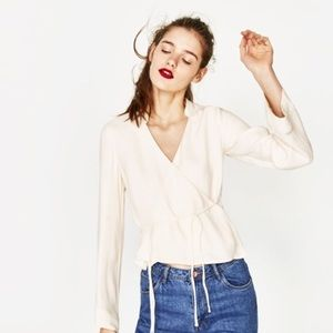 Zara White Crossover Top NWT