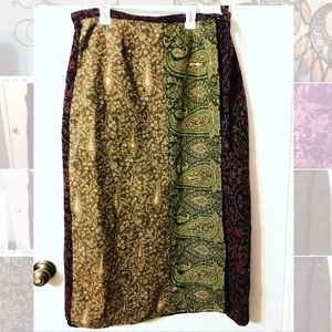 2 tone vintage white stag wrap skirt with sequins
