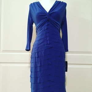 Jones of New York Layered Fitted Blue Dress