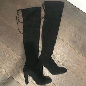 Stuart Weitzman Highland OTK Suede Boots,Black,6.5