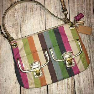 COACH crossbody bag- colorful stripes & gold trim