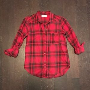 Hollister Red and Black Button Up Plaid Flannel
