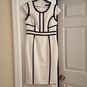 Ivory and black pencil dress