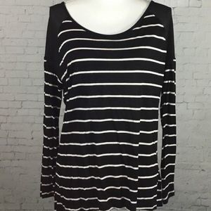 Cynthia Rowley Striped Sheer Trim Long Sleeve Top