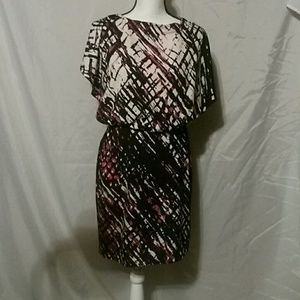 Open back lined abstract design dress size 8