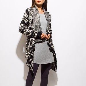 Sweaters - Boho Abstract Print Open Knit Waterfall Cardigan