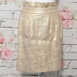 ♥️kate spade ♠️Gold Metallic Linen Pencil Skirt
