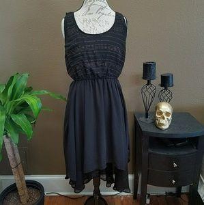 Black Asymmetric Flowy Dress