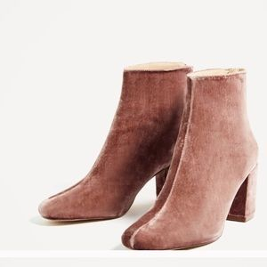 Zara pink velvet boots