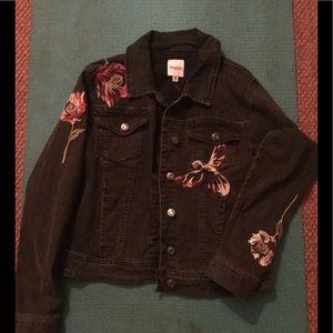 Kensie  embroidered black jean jacket