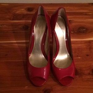 Red Nine West Peep Toe Heels 7 1/2