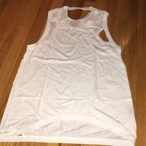 Chaser white distressed tank! Sz S