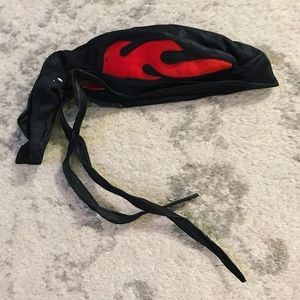 Vintage black flames motorcycle leather do-rag