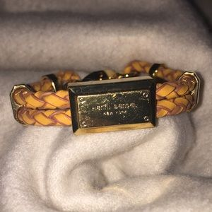 Henri Bendel Orange and Gold Leather Bracelet