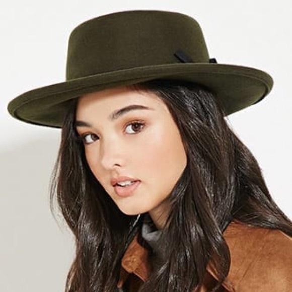 4e48782af87d3 Forever 21 Accessories - ⬇ 💸 F21 Olive Wool Boater Hat