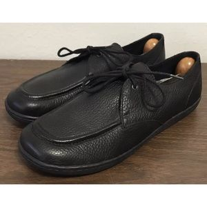 Born Black Leather Lace Up Loafers Shoes Size 8.5M