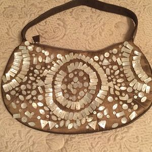 Awesome linen/shell shoulder bag